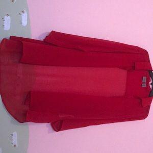 Sheer red tunic shirt